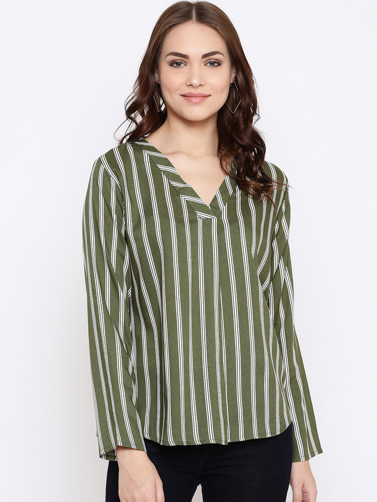 Mettle olive colored tee for women