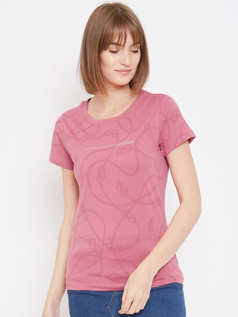 Mettle Pink colour T-shirt for women