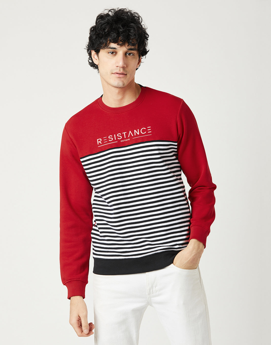 Octave Men Brick Red Printed Sweatshirt