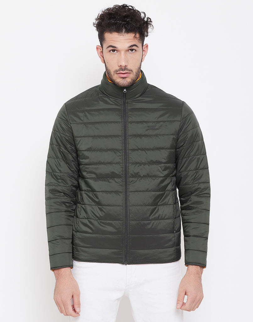 Mettle Olive and Orange Reversible Jacket for Men