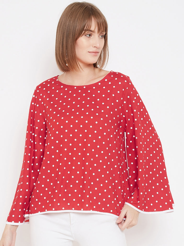 Octave women red base white dots print top