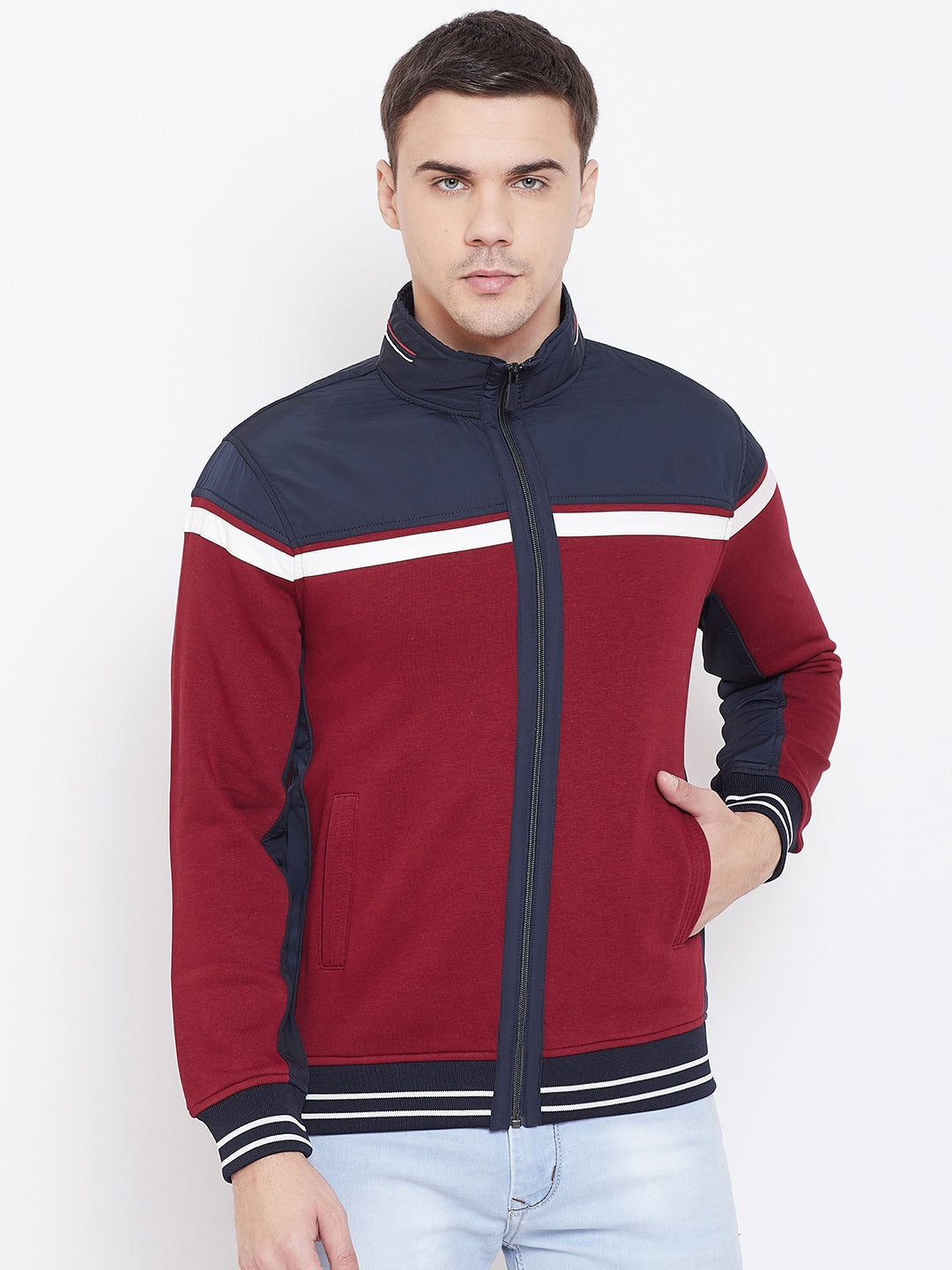 Octave Apparels Red and Blue Jacket for Men