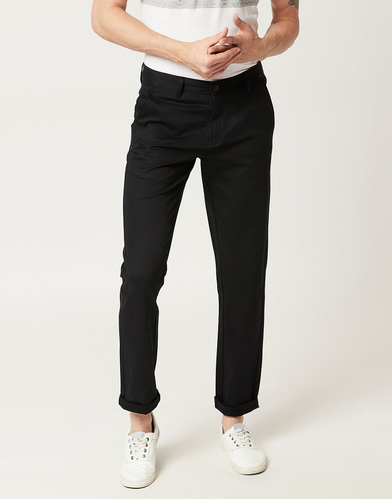 Octave Men Black Chino Trousers