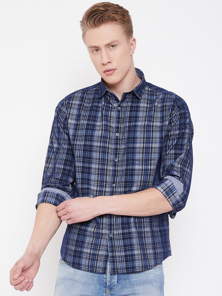 Octave Navy Checkered Shirt for Men