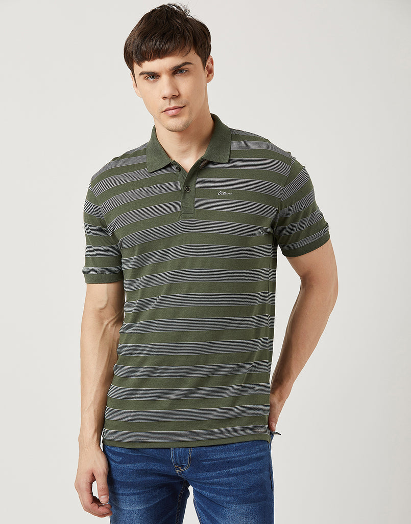 Octave Men Olive Stripe Polo T-shirt