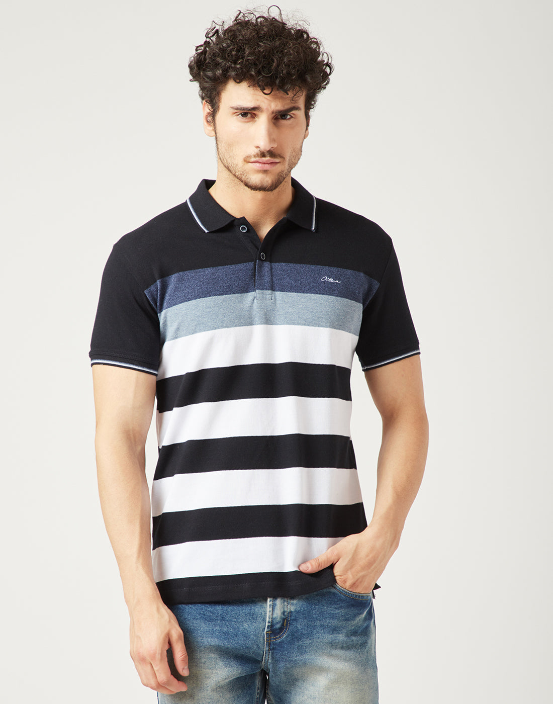 Octave Men Navy Striped Polo Tshirt