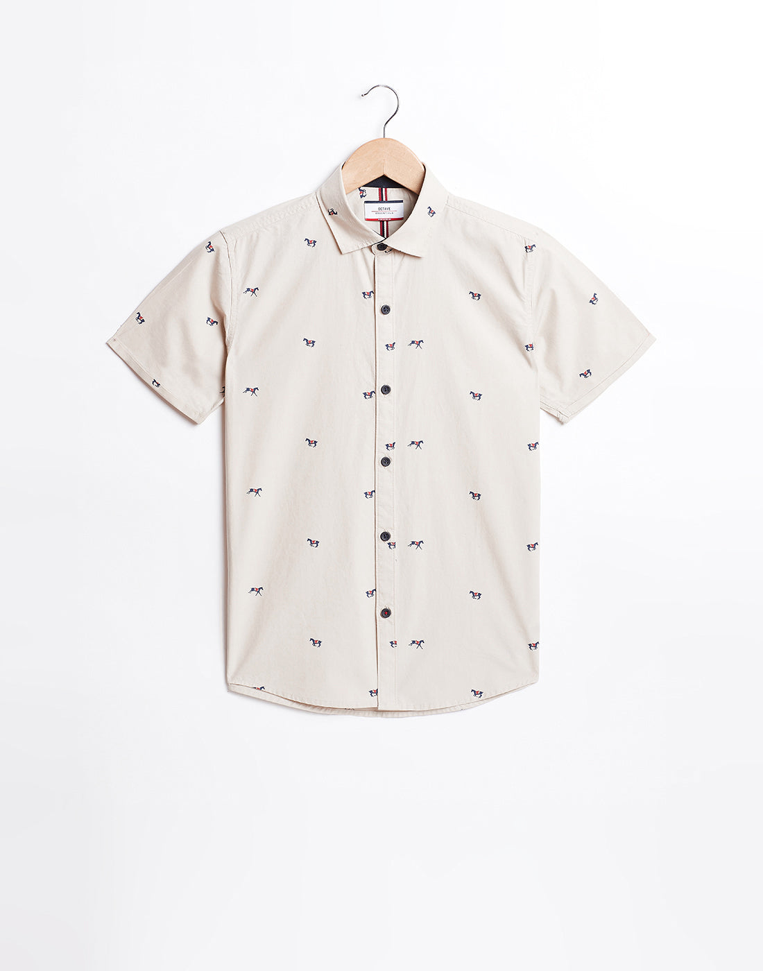 Octave Boys Beige Printed Shirt