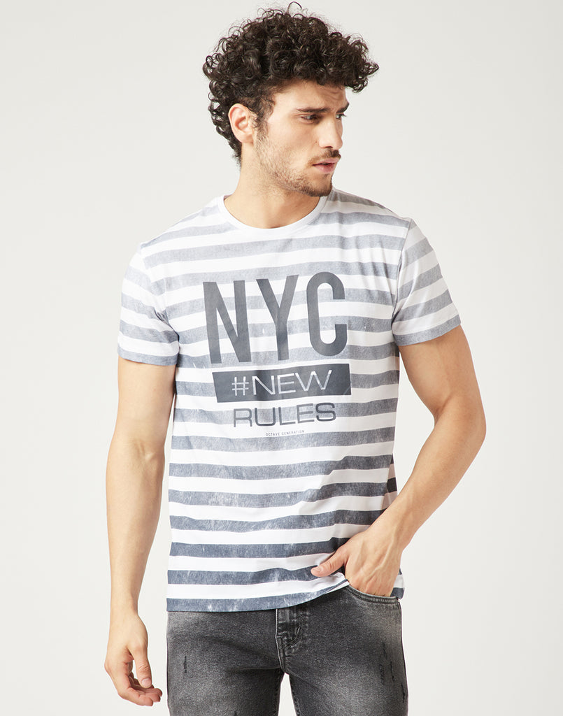 Octave Men Navy & White Printed Tshirt