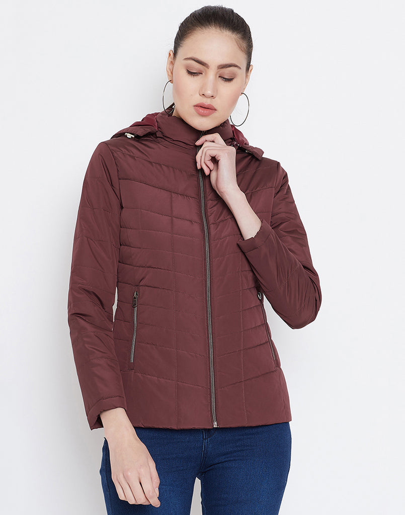 Mettle Wine Quilted Jacket with Hood for Women