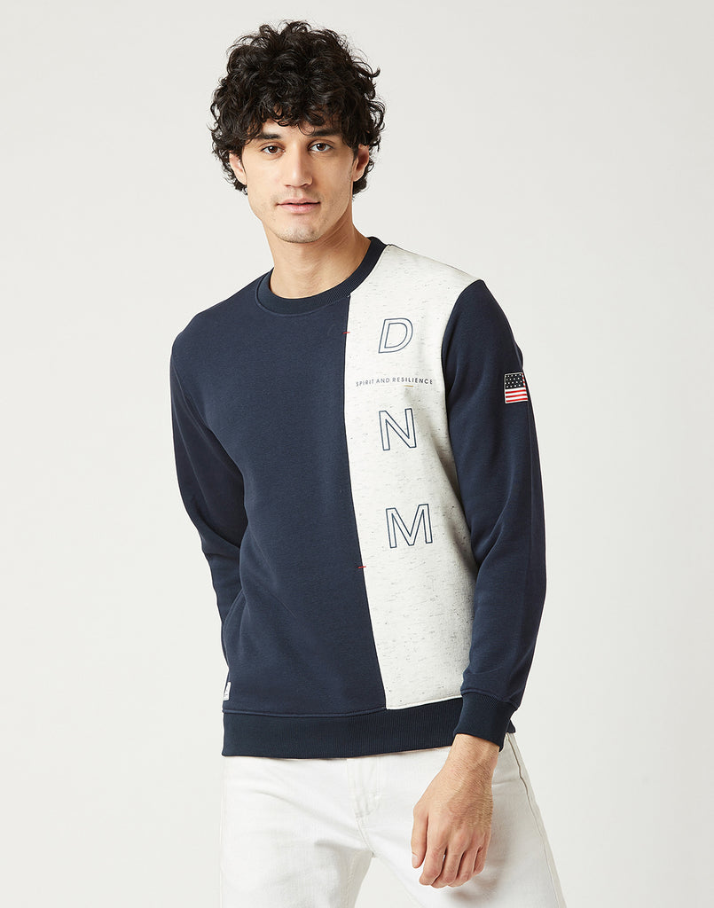 Octave Men Indigo Blue Printed Sweatshirt