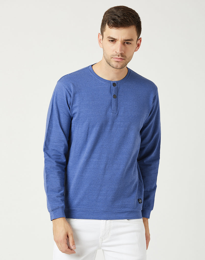 Octave Men Royal Blue Henley Sweatshirt