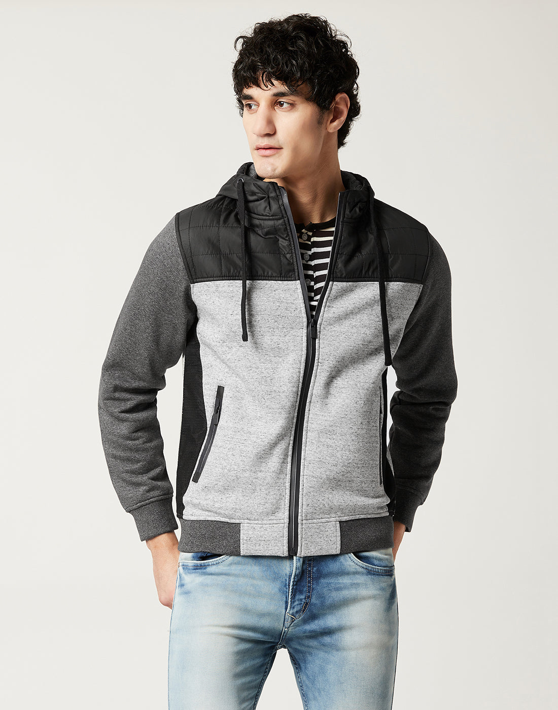 Octave Men Snowflake Grey Colour blocked sweatshirt