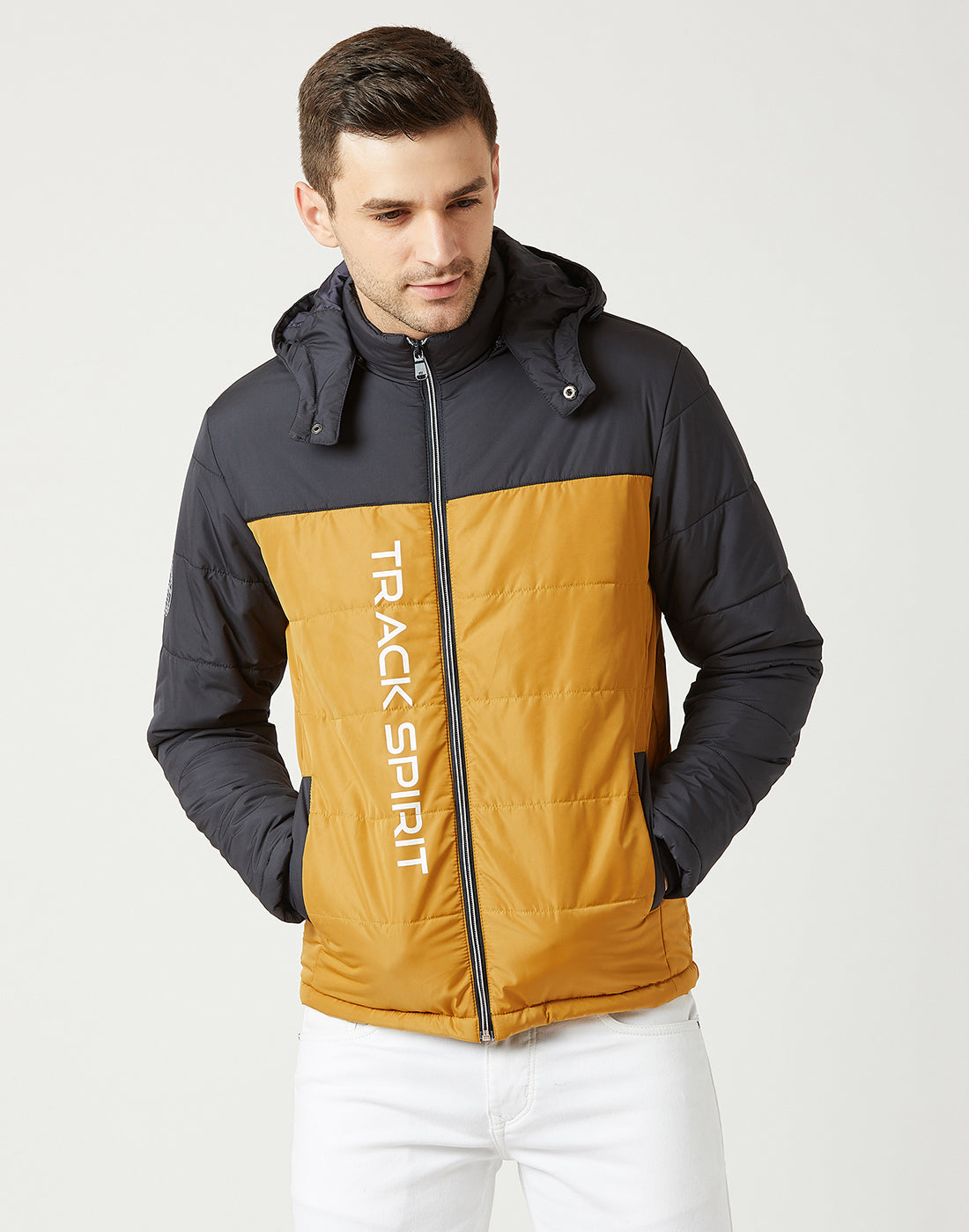 Octave Men Mustard Yellow Hooded Jacket