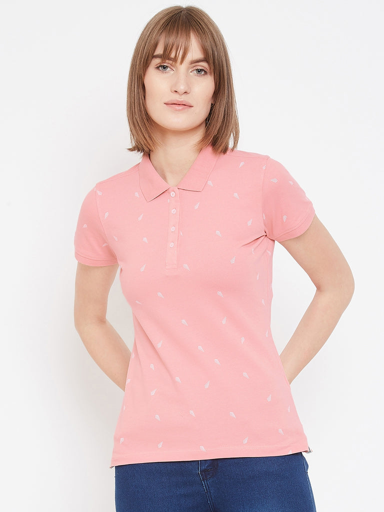 Mettle pink colour t-shirt with white dots for women