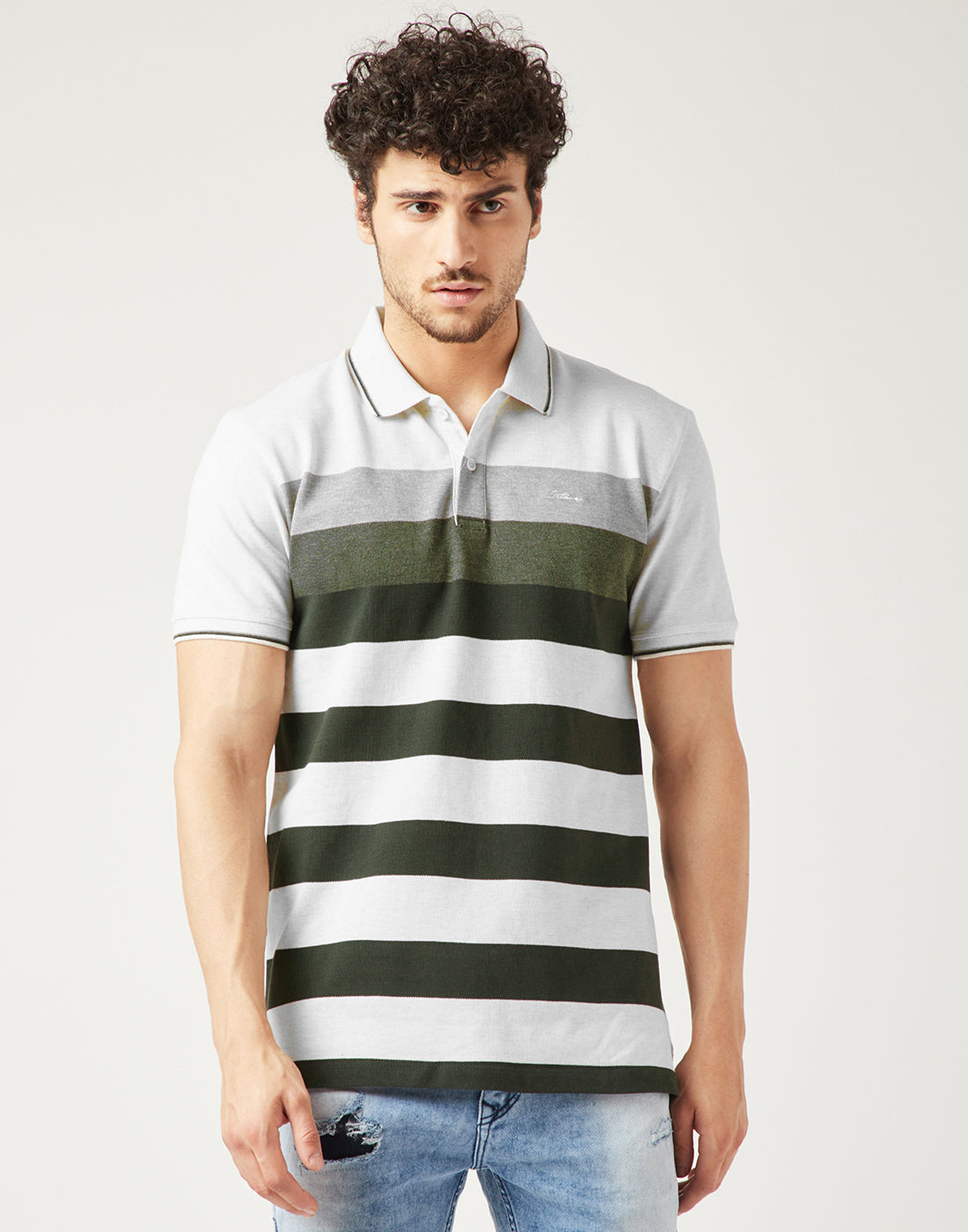 Octave Men Natural White Striped Polo Tshirt