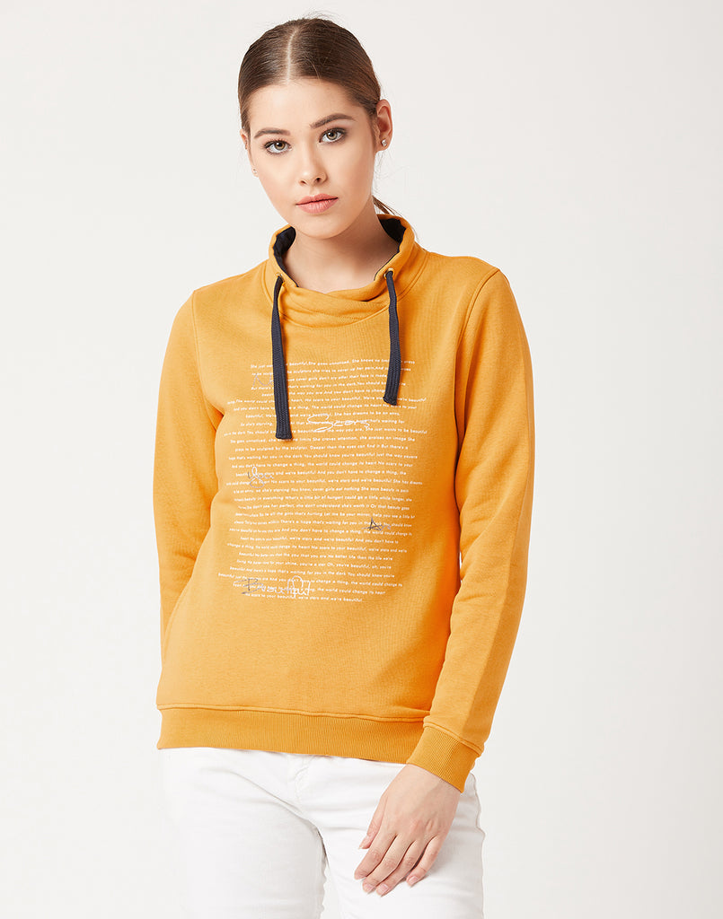 Mettle Women Mustard Yellow Printed Sweatshirt
