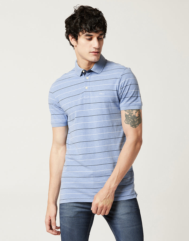 Octave Men Sky Blue Melange Striped Polo T-shirt