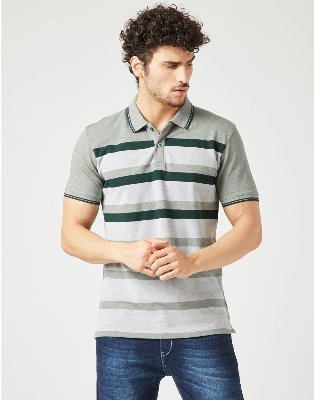 Octave Men Sage Melange Striped Polo Tshirt
