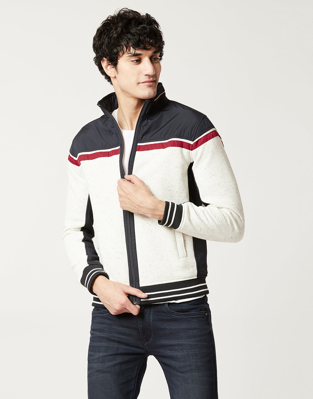 Octave Men White Melange & Navy Colour blocked sweatshirt