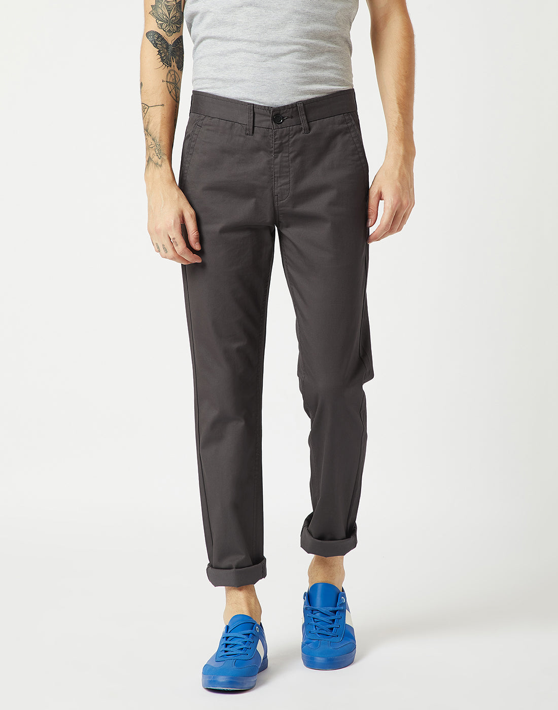 Octave Men Charcoal Chino Trousers