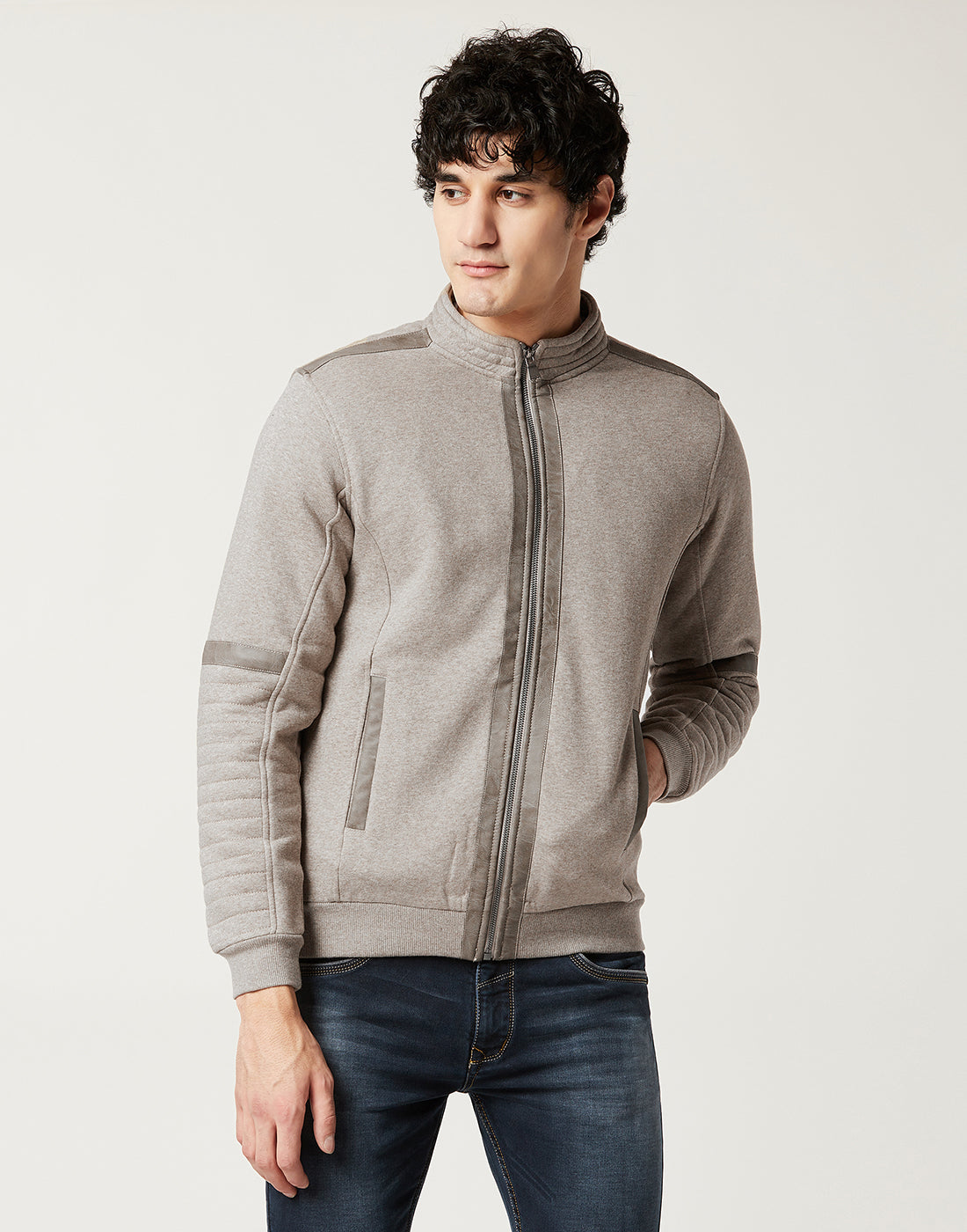 Octave Men Stone Coloured Sweatshirt