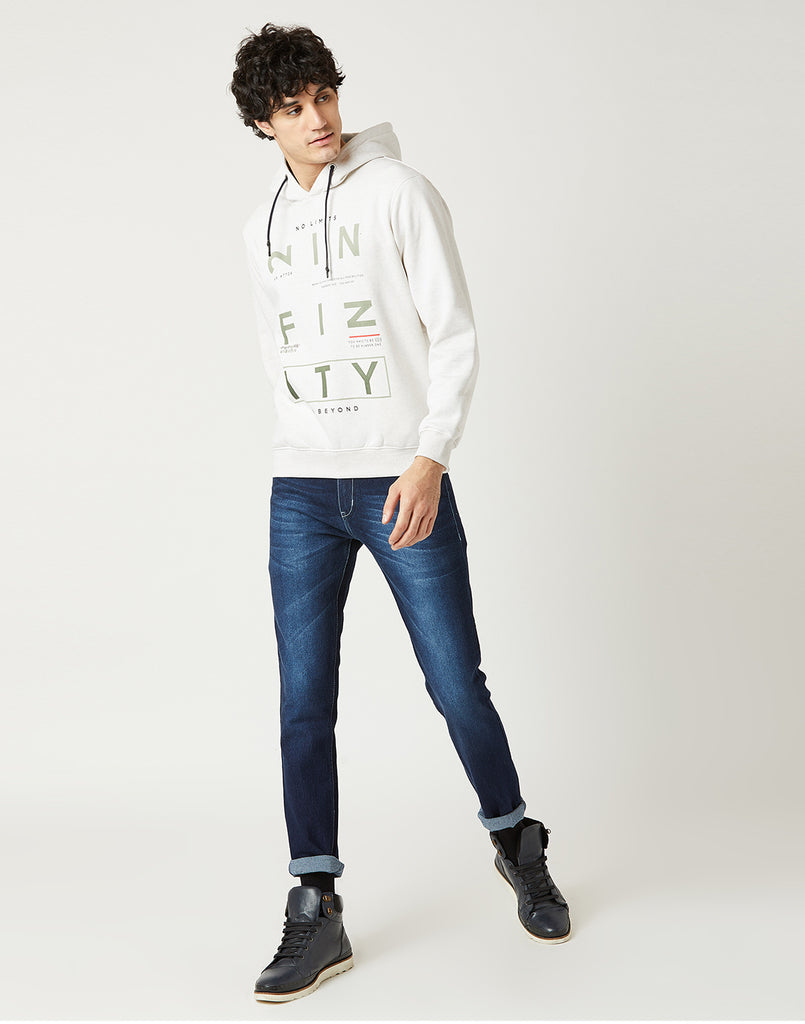 Octave Men Cloud Melange Printed Hooded Sweatshirt