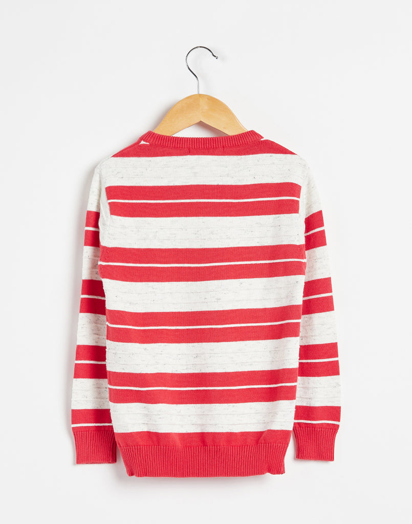 Octave Boys Miami Red & White Melange Striped Sweater