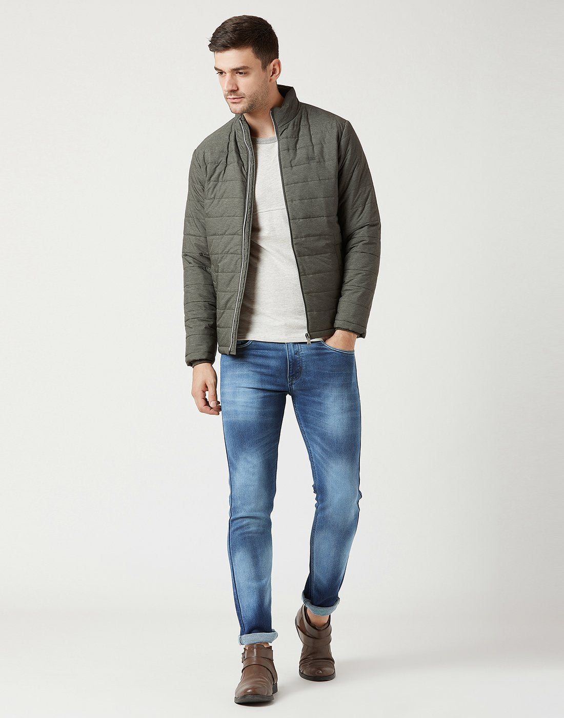 Mettle Men Olive Green Quilted Jacket