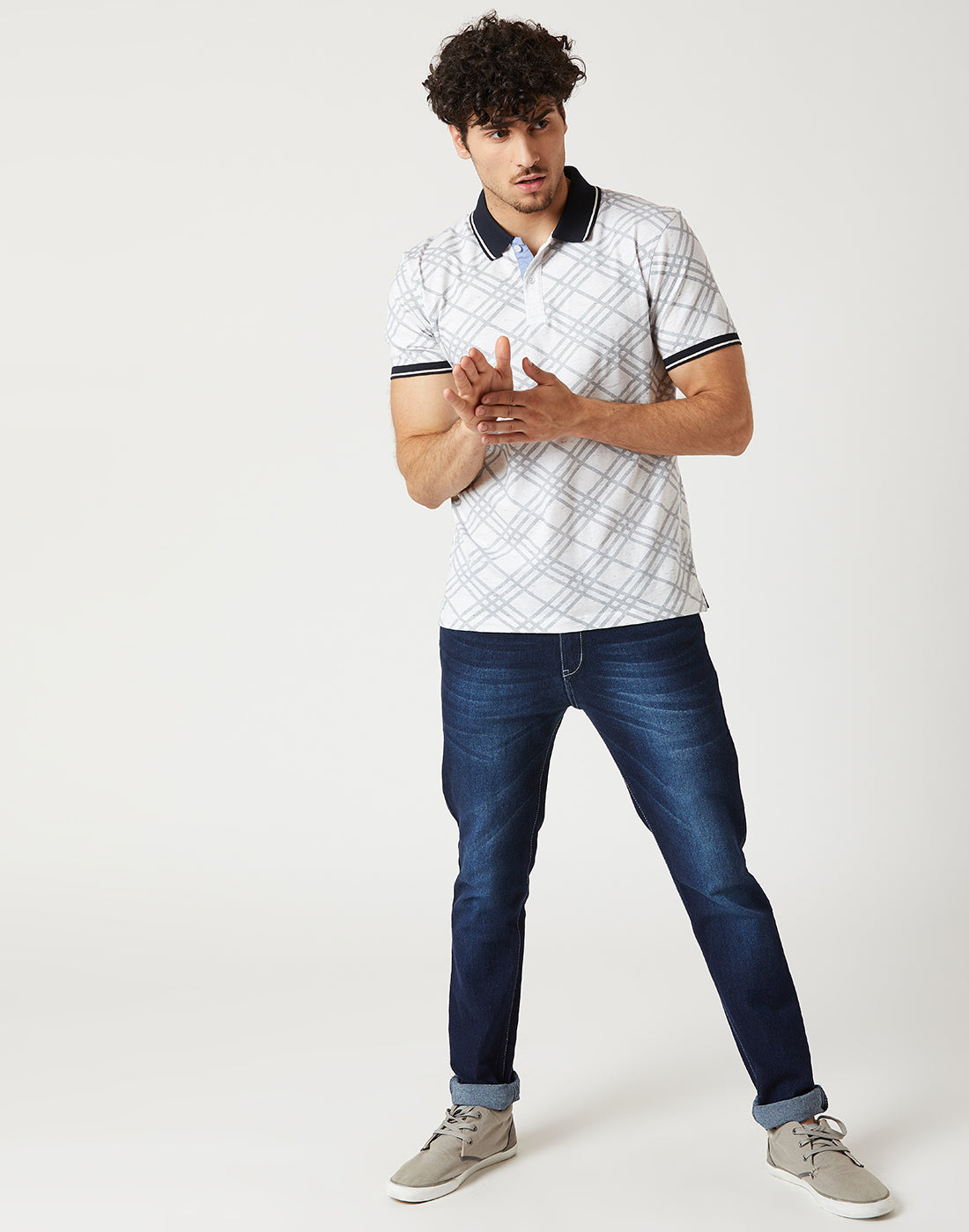 Octave Men White Polo Tshirt