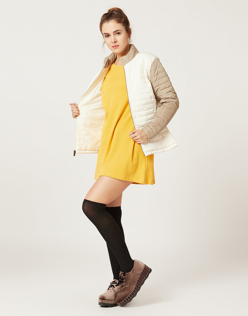 Mettle Women Ivory White & Beige Jacket