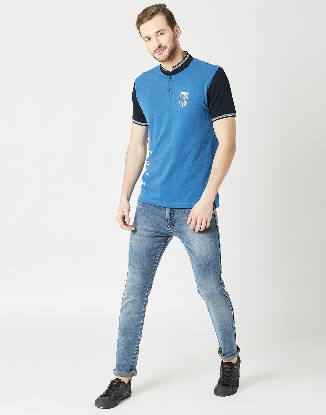 Octave Men Royal Blue Printed Tshirt