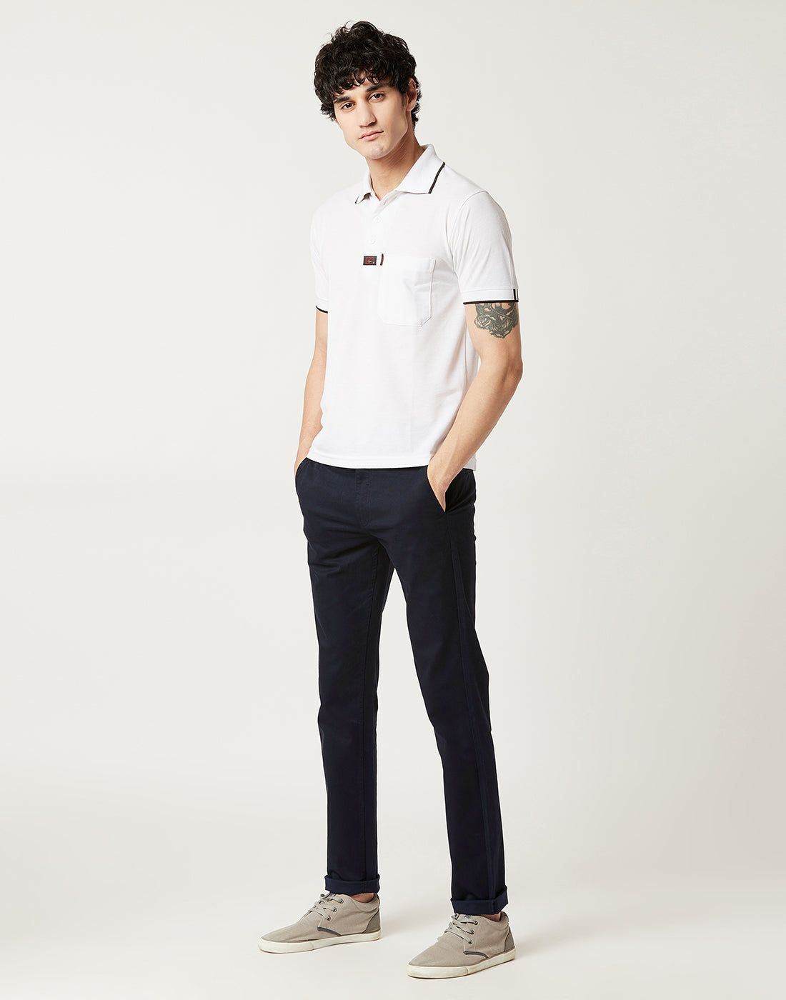 Octave Men Navy Chino Trousers