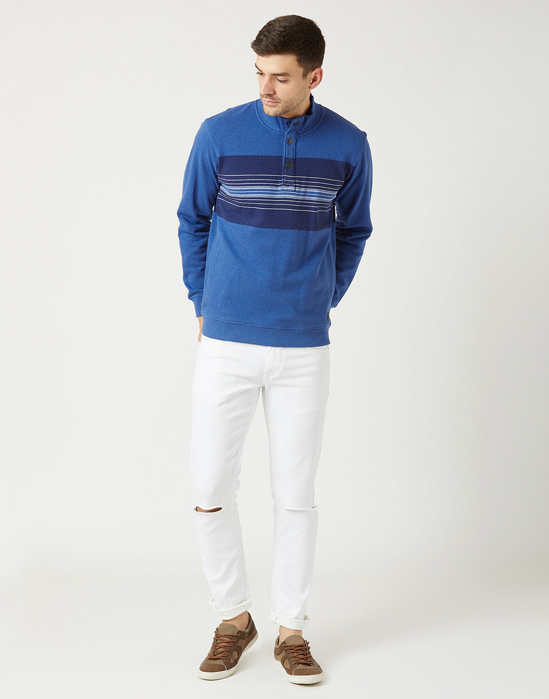 Octave Men Royal Blue Melange Printed Sweatshirt