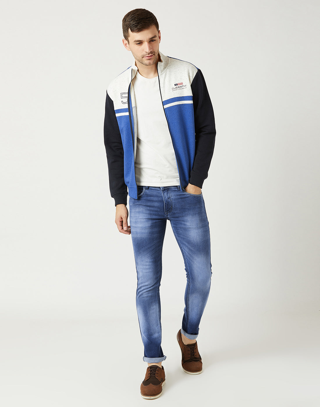 Octave Men Royal Blue Melange Colourblocked Sweatshirt