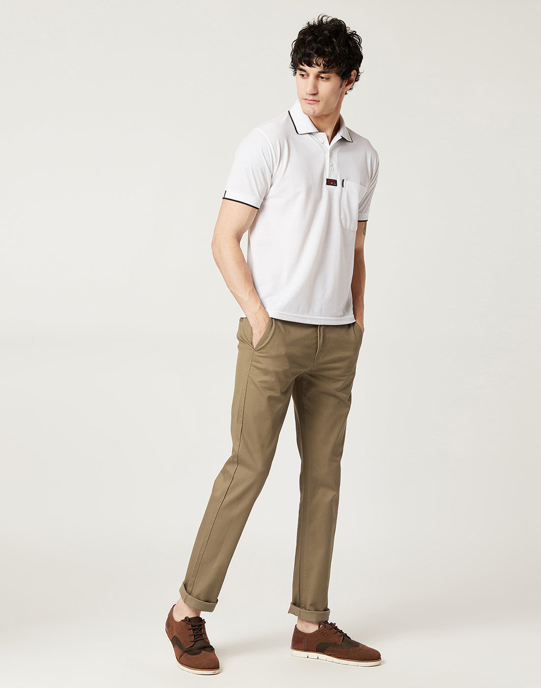 Octave Men Duck Beige Chino Trousers