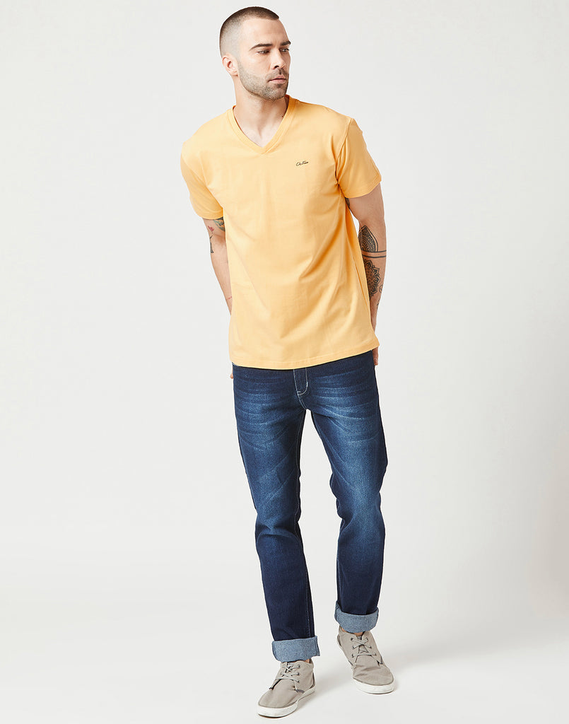 Octave Men Mango Yellow Tshirt