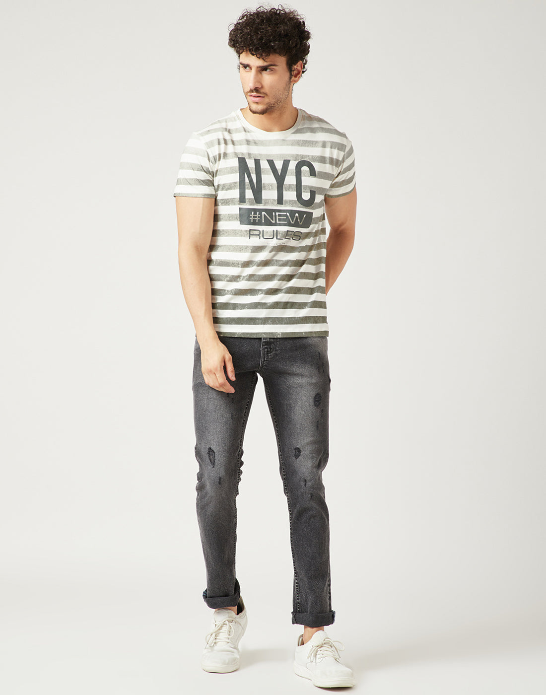 Octave Men Olive Green Printed Tshirt