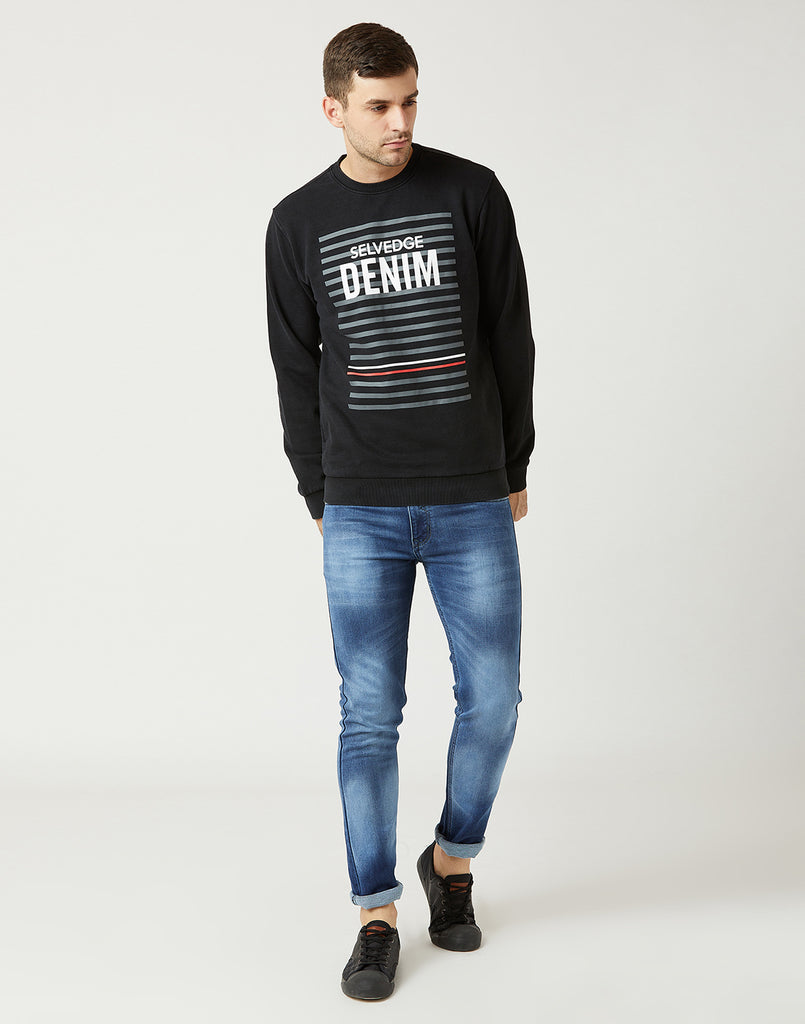 Octave Men Smoke Grey Printed Sweatshirt