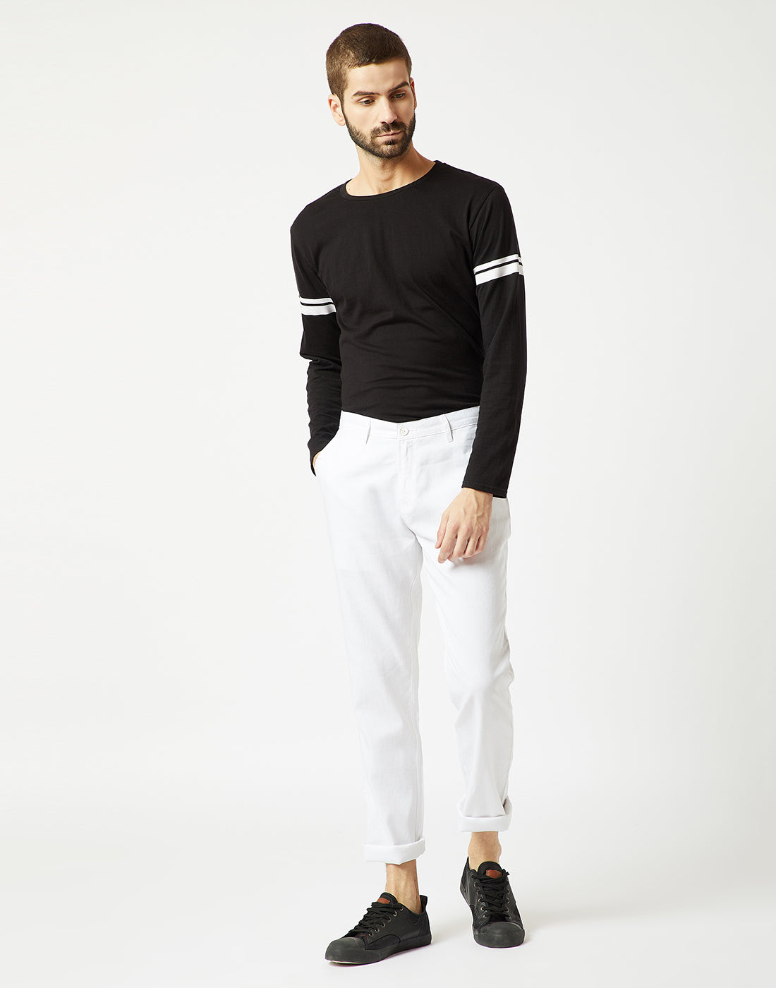Octave Men White Chino Trousers