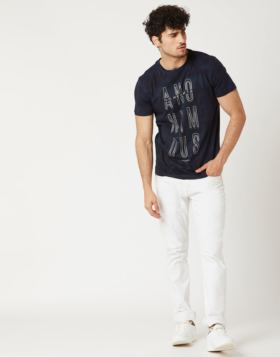 Octave Men Indigo Blue Printed Tshirt
