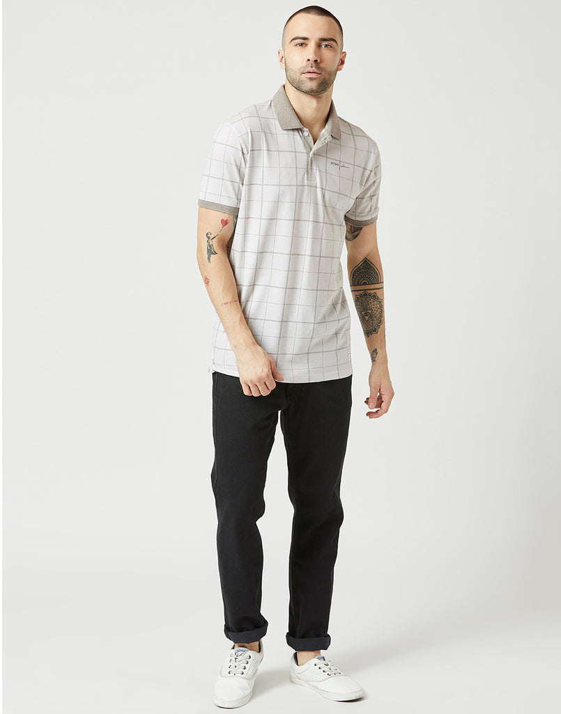 Octave Men Linen Checked Polo Tshirt