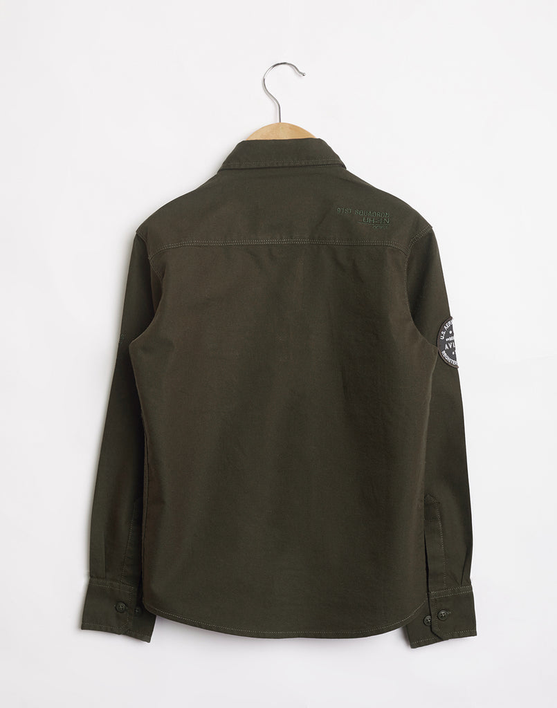 Octave Boys Olive Green Cargo Shirt
