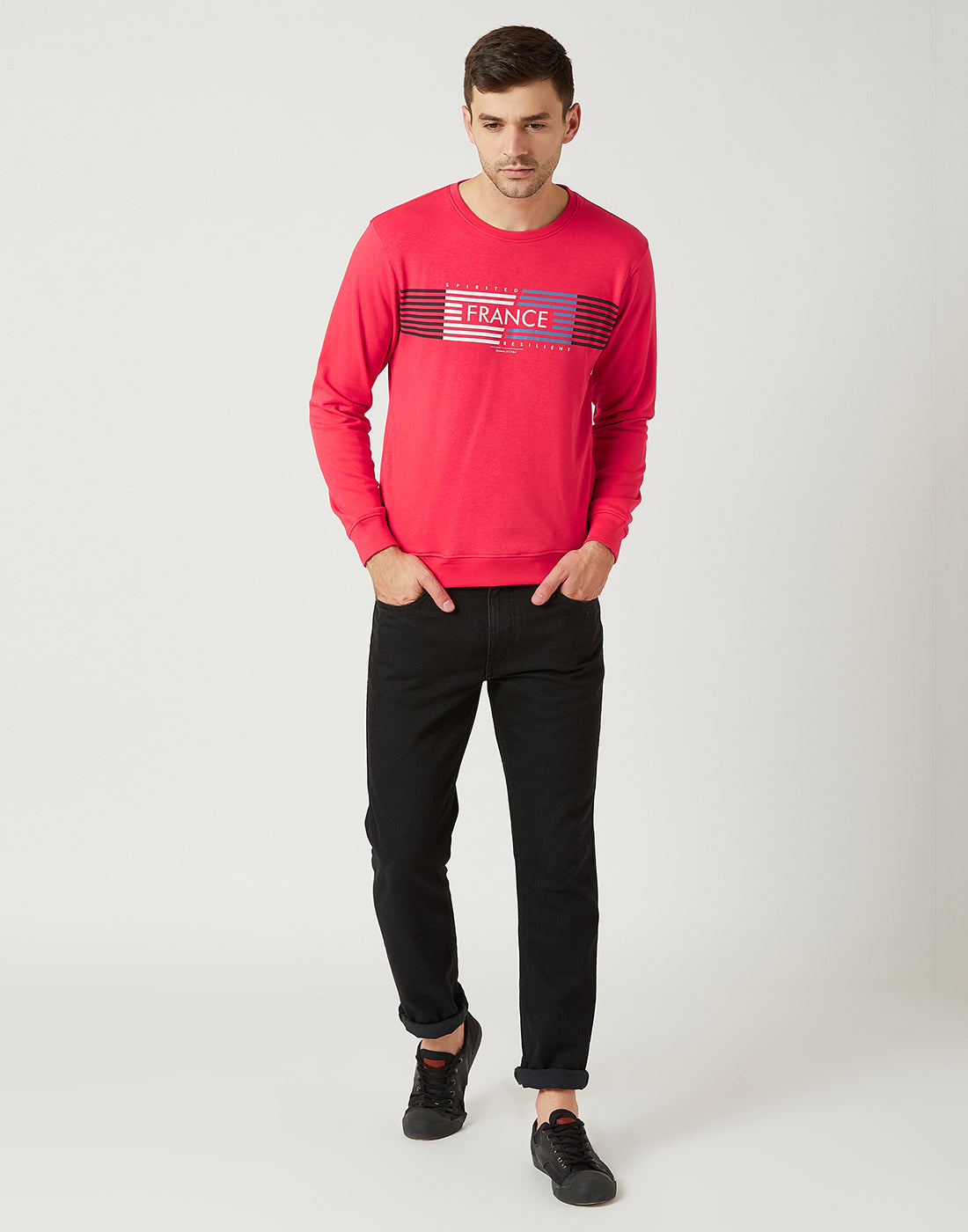 Octave Men Miami Red Printed Sweatshirt