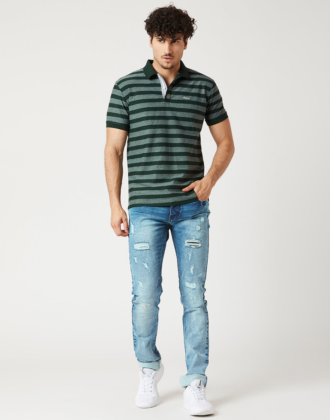Octave Men Green Striped Polo Tshirt