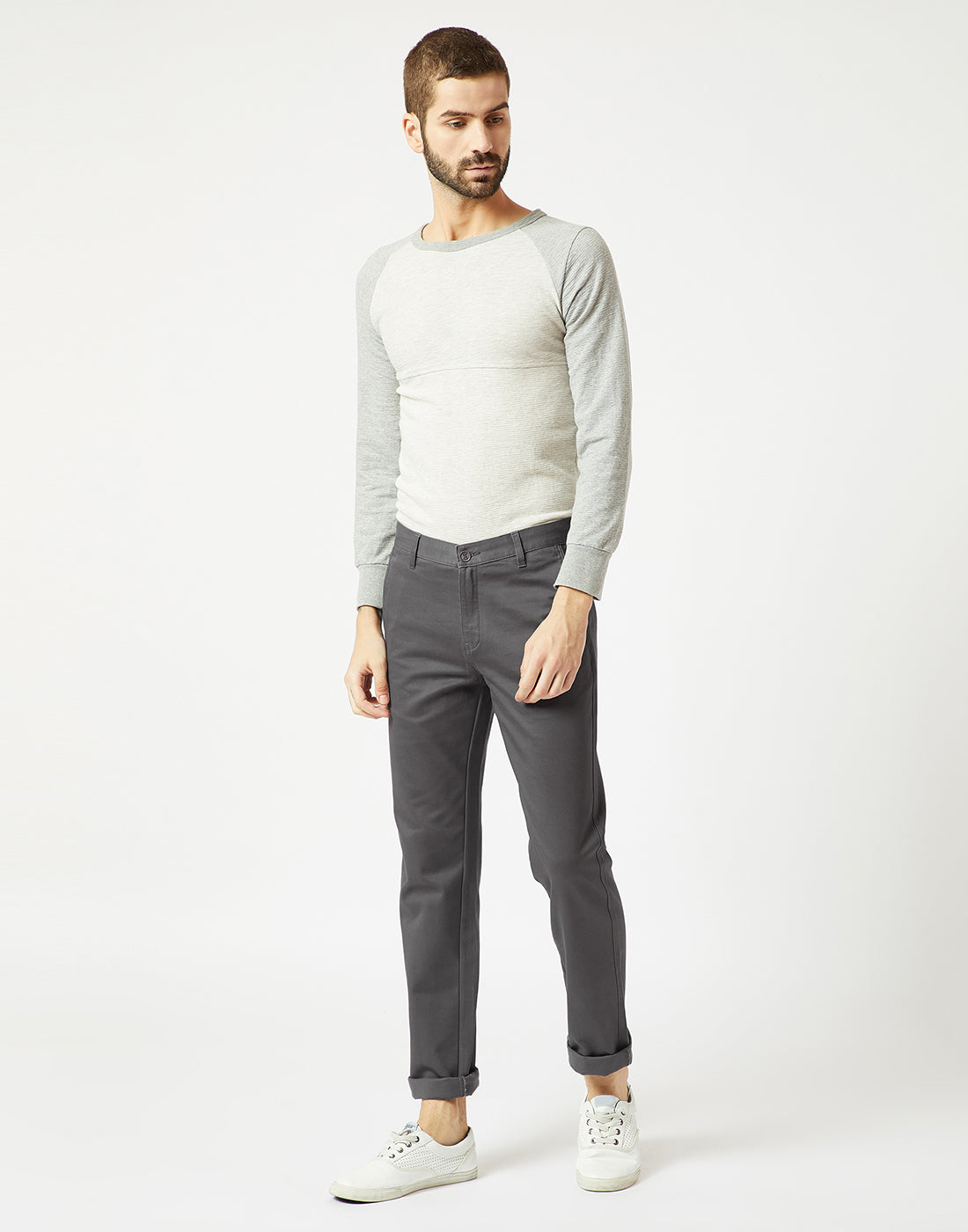 Octave Men Grey Chino Trousers