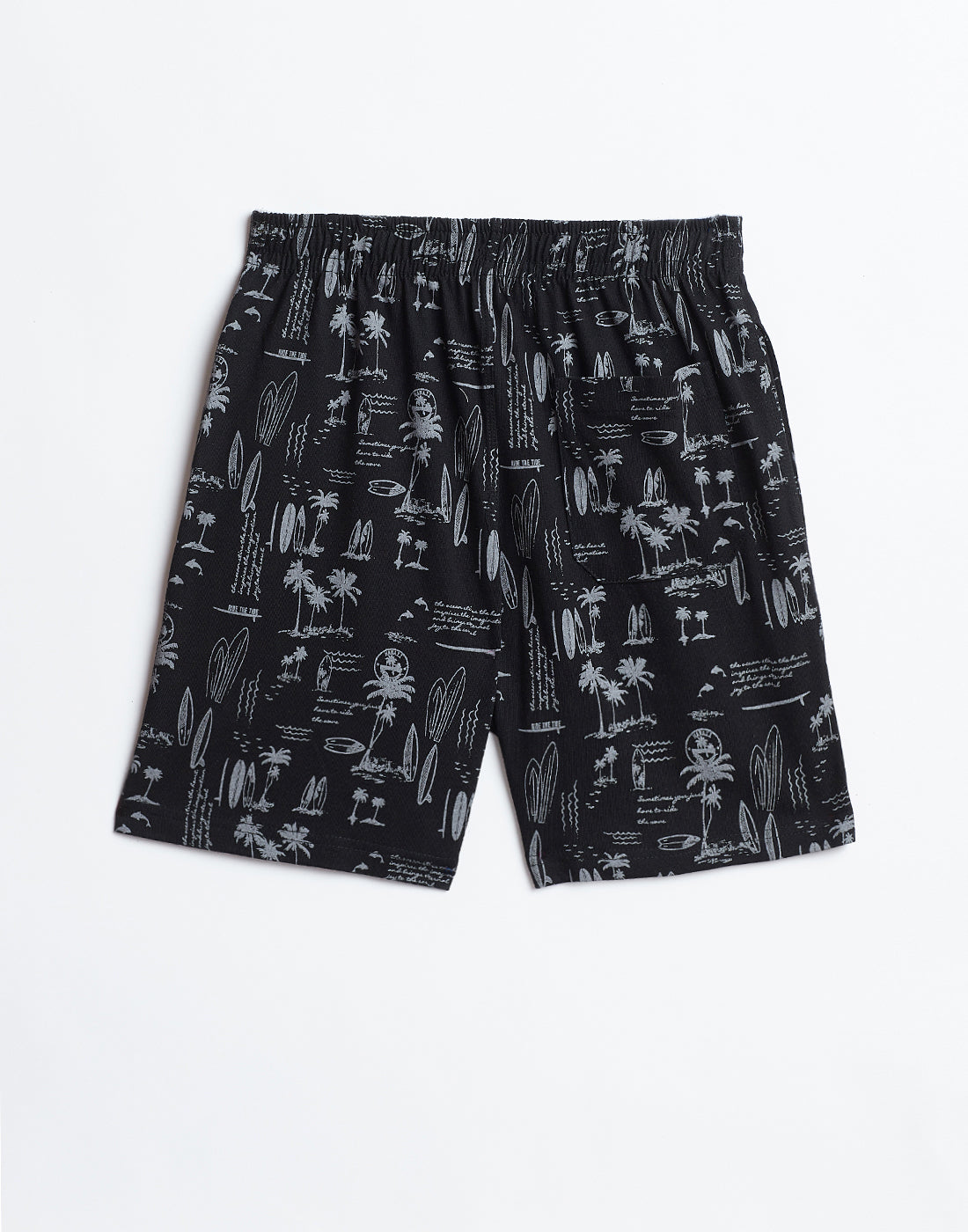 Octave Boys Black Printed Shorts