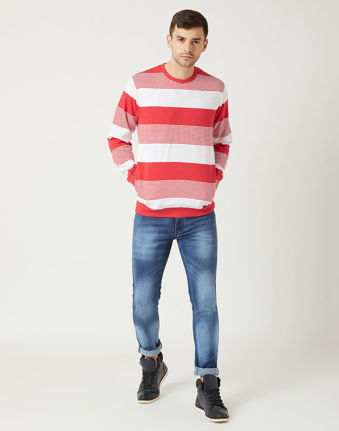 Octave Men Red Melange Striped Sweatshirt