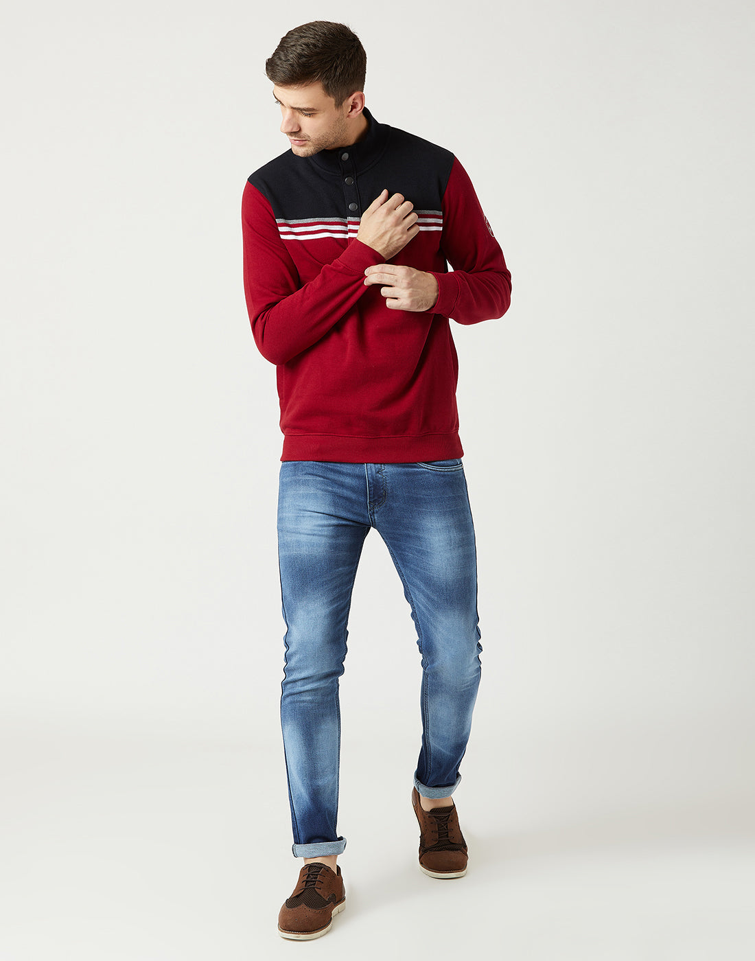 Octave Men Salsa Red Printed Sweatshirt