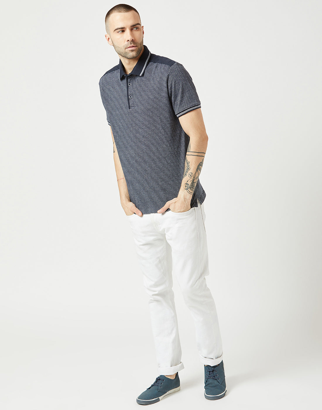 Octave Men Navy Printed Polo Tshirt