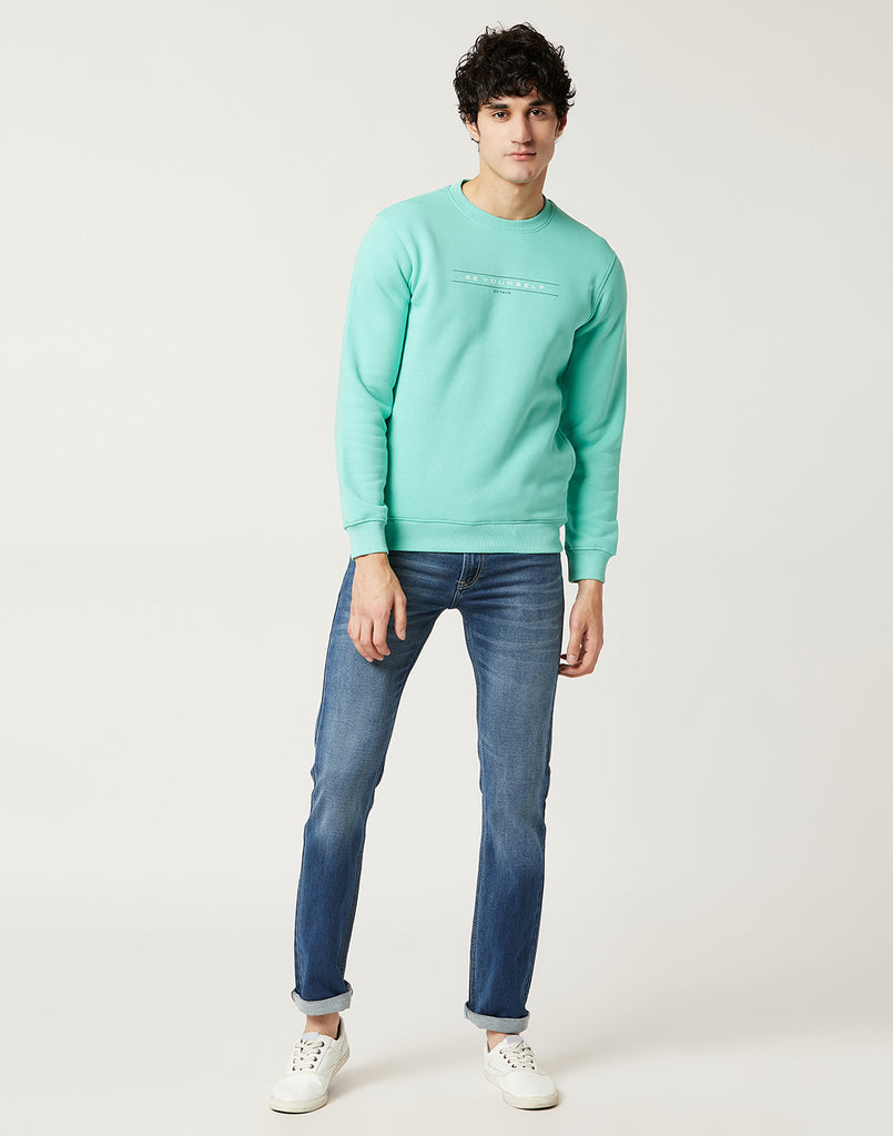 Octave Men Mint Green Printed Sweatshirt